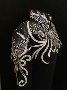 #1366 Black w/White and Lavendar Show Blouse, Ladies L, 8637-14