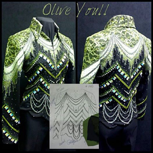 "#1410 ""Olive You"" Black/Moss Stretch Show Jacket, Ladies M 8019-4"