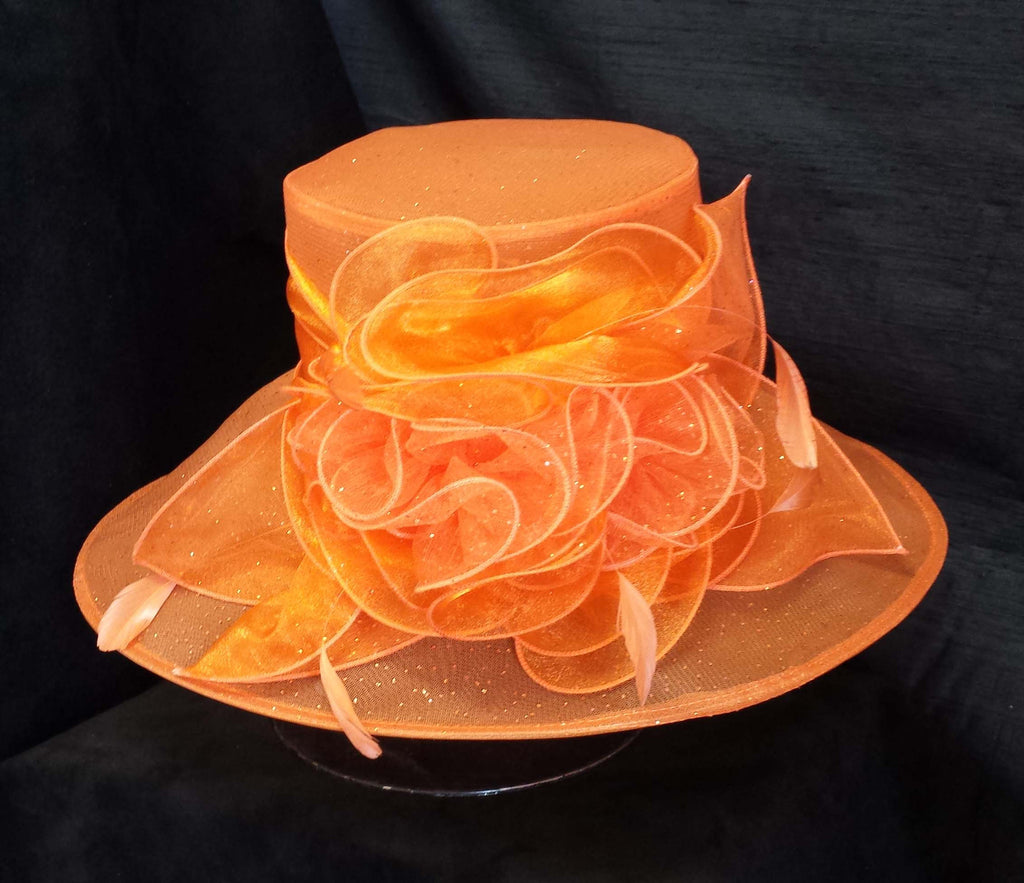 Orange Creme Chiffon Hat