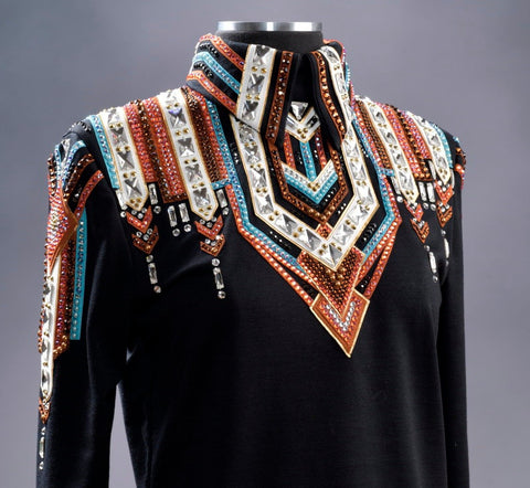 #2004 Black w/Rust, Turq, White Show Blouse, Ladies M , 8637-9