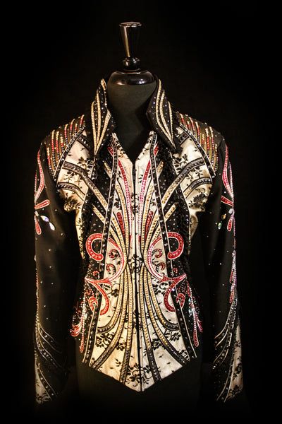#1233a Black Show Jacket w/Red/Gold, Ladies L