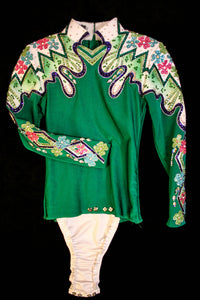 SALE #1314 Emerald Green Show Blouse Horsemanship Outfit, Girls 8, 3202-30