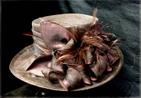 Chocolate Hat w/Feathers