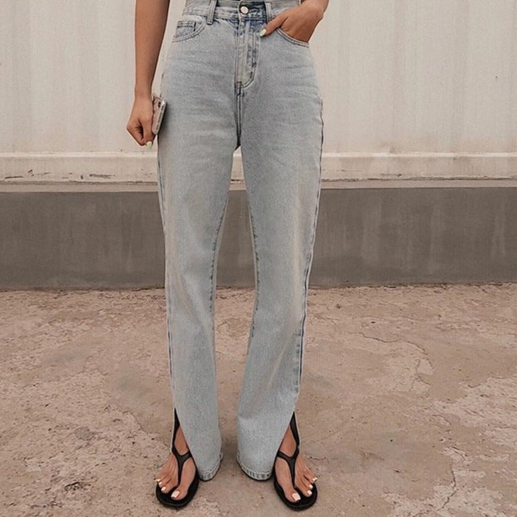 High Cut Jeans with a Slit