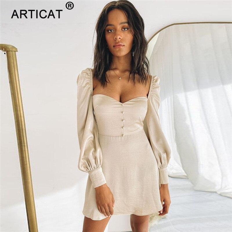 Mini Dress in Satin with Long Sleeves