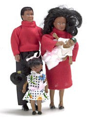 4Pc Black Doll Family - Modern