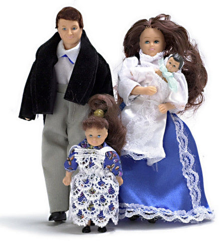 4 Piece Victorian Doll Family Brunette