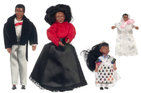 4 Piece Black Victorian Doll Family