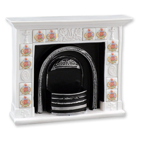 Rose Tile Decorated Fireplace Unit