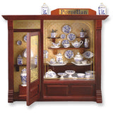 Complete Porcelain Shop Shadow Box Display