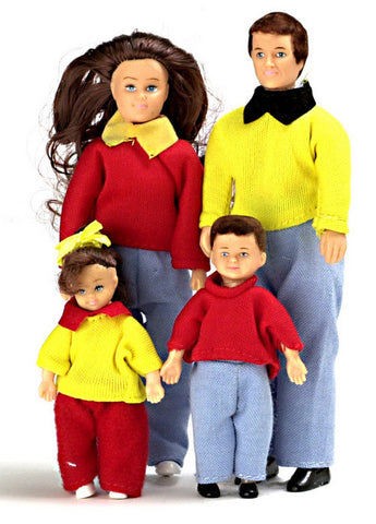 4 Piece Modern Doll Family Brunette