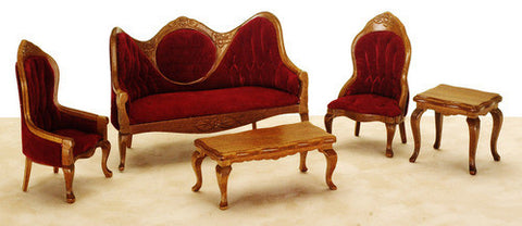 Red & Walnut Living Room Set