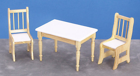 Oak & White Table With 2 Chairs