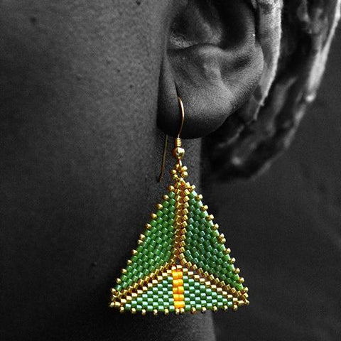 Lemon, Lime and Gold Geometric Earrings