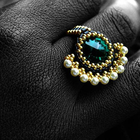 Asymetrical Emerald, Black & Gold Beaded Ring with Pearl Embellishment
