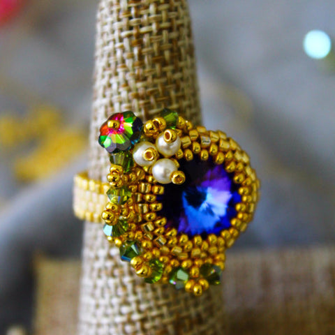 Asymetrical Tropical Sunset Beaded Ring with Pearl Embellishment