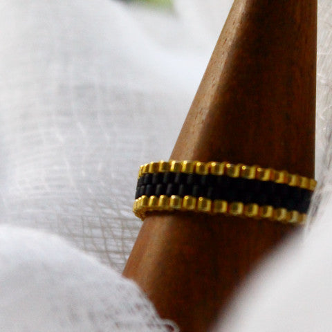 Black & Gold Stackable Ring