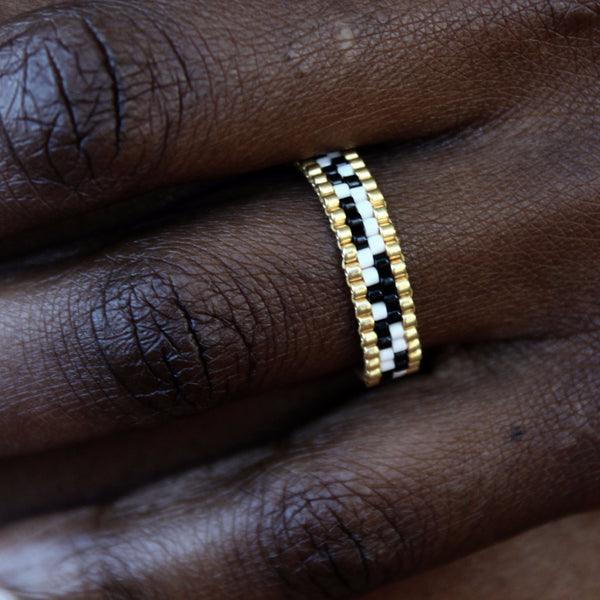Black, White Mosaic & Gold Stackable Ring