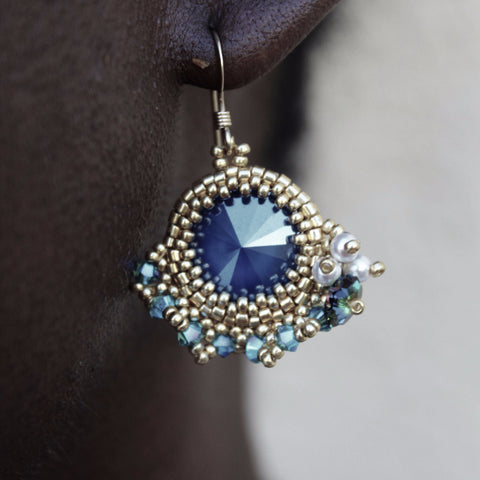 Gold Beaded Earrings w/ Royal Blue Swarovski & Pearl Cluster