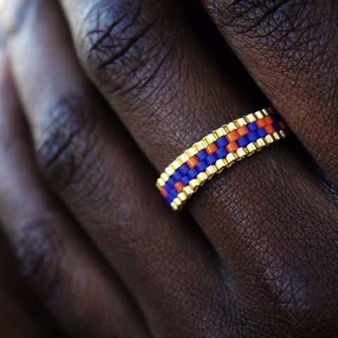 Cobalt, Orange & Gold Stackable Ring