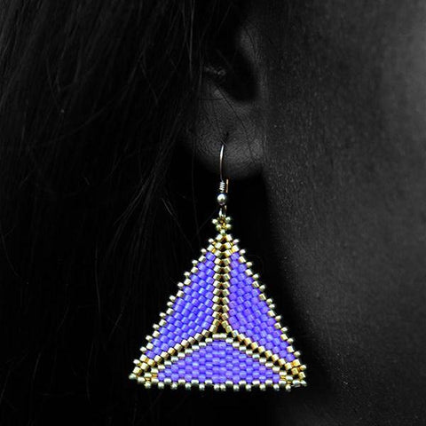Lavender and Gold Geometric Earrings