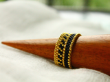 Black and gold stackable beaded ring