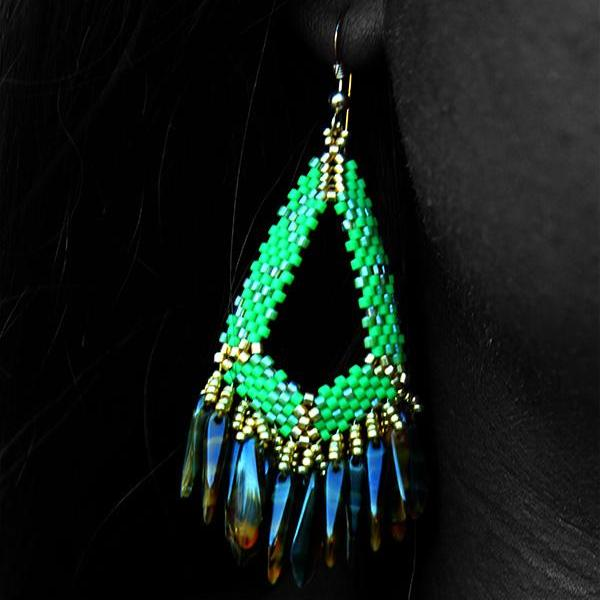 Green and Gold Chandelier Beaded Earrings