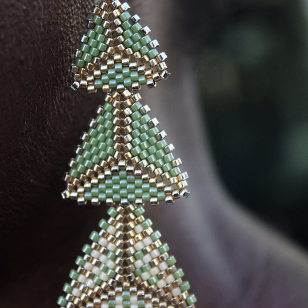 Green, Cream & Gold Geometric Drop Earrings