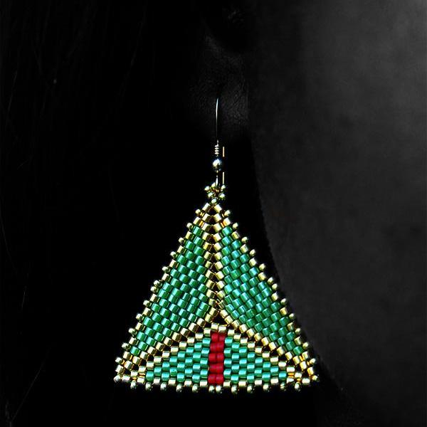 Green w/ Red Accent Gold Geometric Earrings
