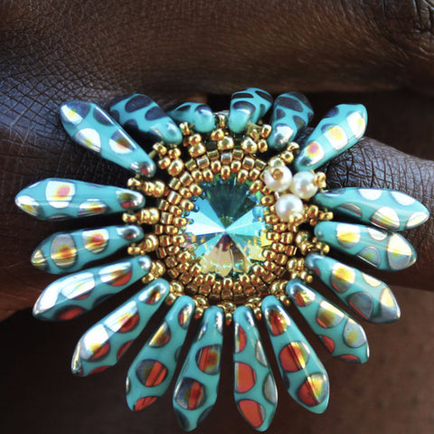 """Ice, Ice, Baby"" Floral Beaded Ring"
