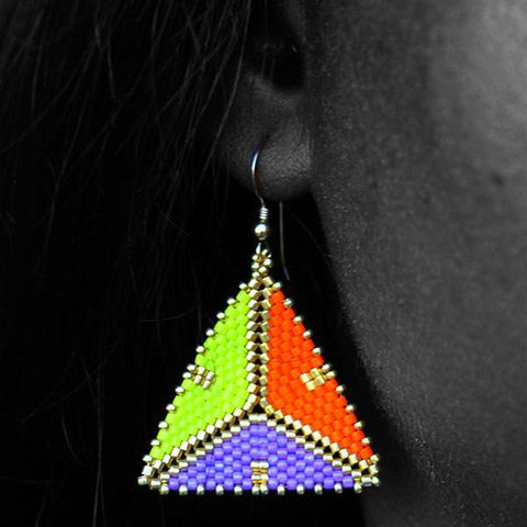 Laissez Les Bons Temps Rouler Tri-Colored Gold Geometric Earrings