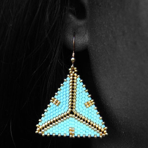 Mint Green and Gold Tribal Geometric Earrings