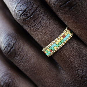 Tropical Mosaic & Gold Stackable Beaded Ring