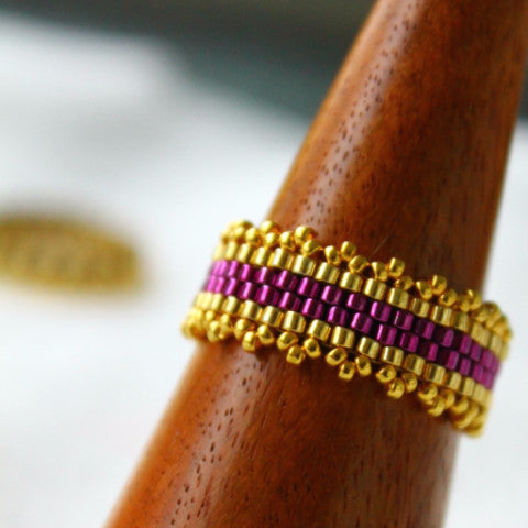 Bohemian Royal Purple & Gold Embelished Beaded Ring