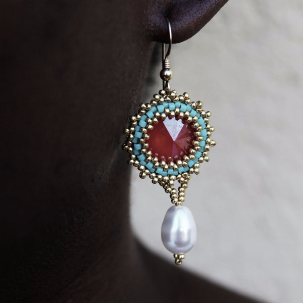 Teal & Red Handcrafted Pearl Drop Earrings