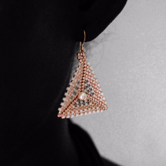 Geometric Earrings: Gold, Silver & Pearl