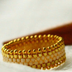 Bohemian Cream & Gold Embelished Beaded Ring