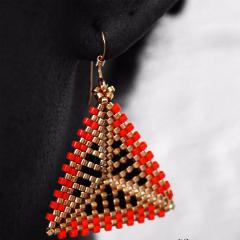 Geometric Earrings: Orange, Gold & Black