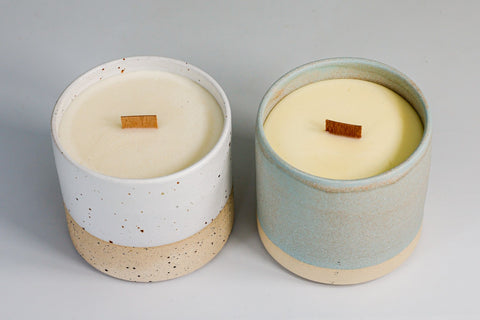 Handmade pottery scented candle holders