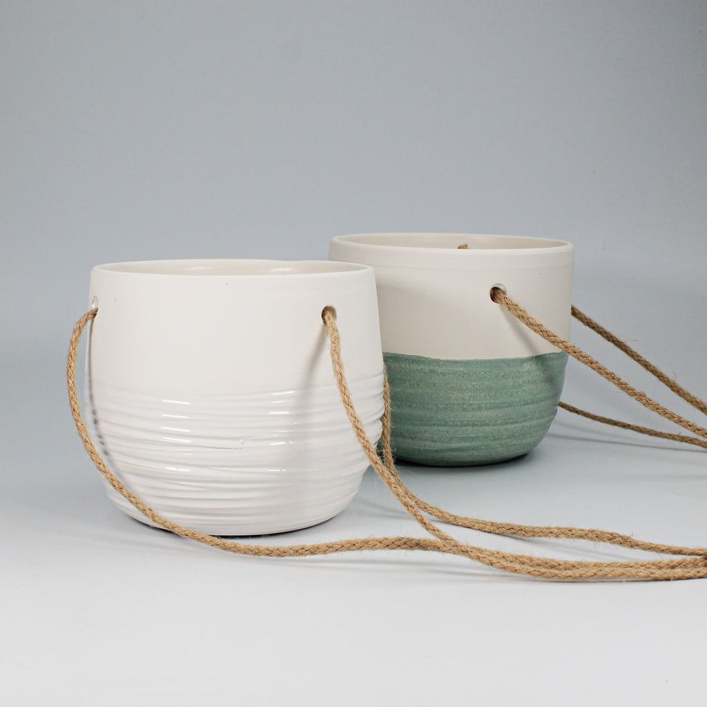 Ceramic part glazed hanging pots in choice of green or white