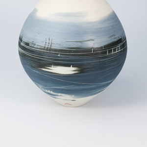 Close up of blue and white porcelain spherical vase