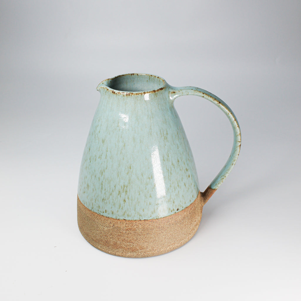 Duck egg speckled blue jug with natural band at bottom
