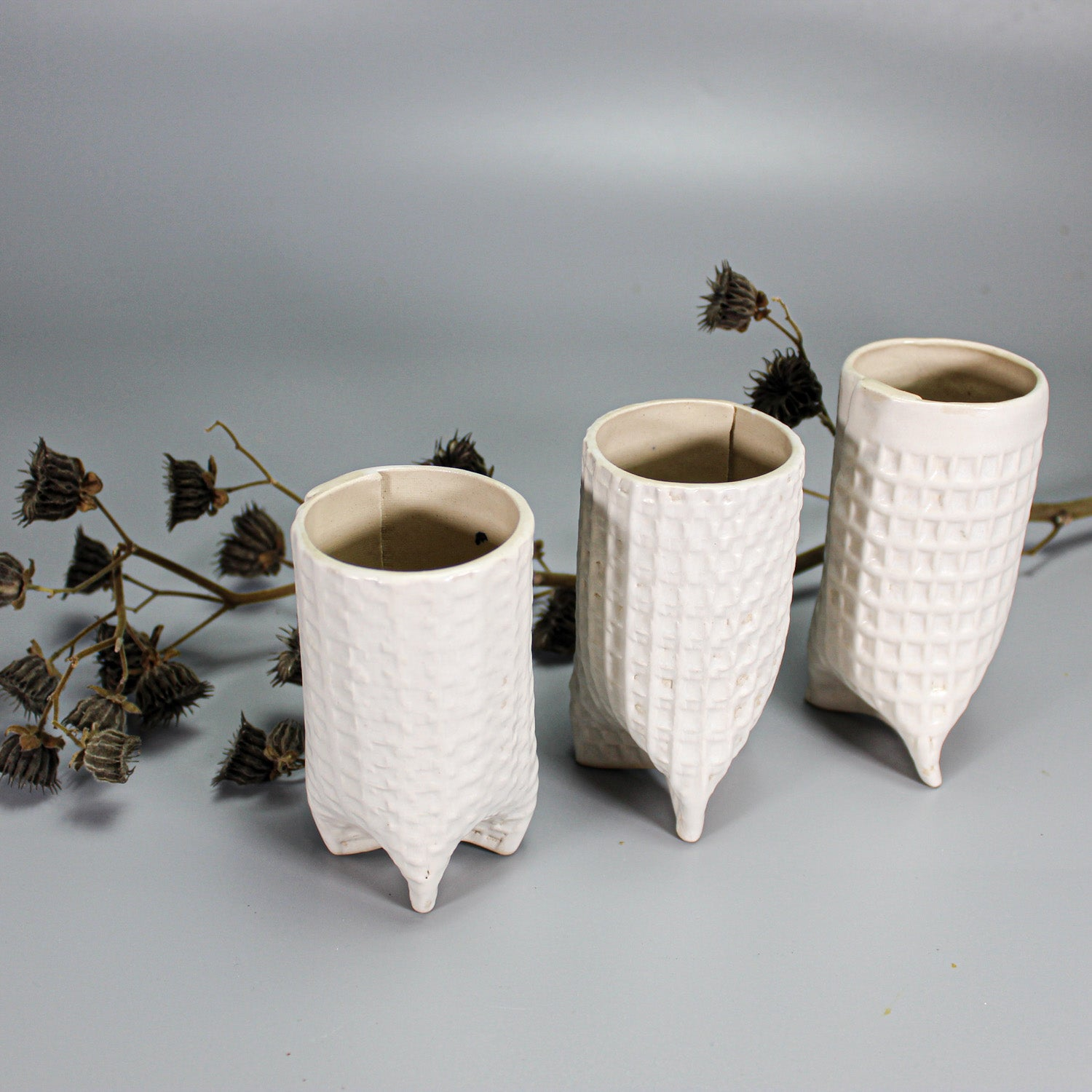Trio of bud vases