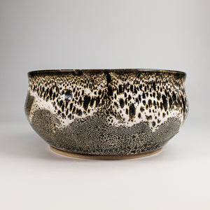 Japanese Croco bowl. Brown and white crocodile effect glaze.
