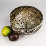 Load image into Gallery viewer, View from above of Japanese Croco bowl with fruit next to it. The glaze is brown and cream crocodile effect.