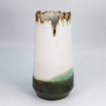 Load image into Gallery viewer, Large pottery vase with jagged top in white, bronze and green.