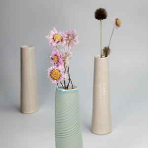 Trio of single stem vases