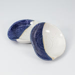 Load image into Gallery viewer, Pair of blue and white ceramic spoon rests