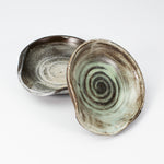 Load image into Gallery viewer, Pair of ceramic spoon rests in brown and sage green