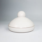 Load image into Gallery viewer, White pottery butter dish. Circular with bobble knob.